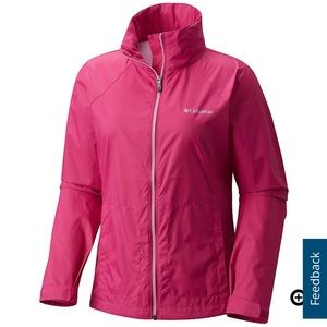 Columbia bright pink rain jacket